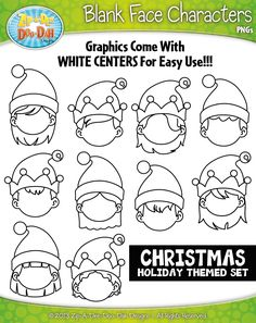 Christmas Elf Blank Face Characters Clipart {Zip-A-Dee-Doo-Dah Designs} Christmas Doodles, Christmas Drawing, Christmas Elf, Christmas Crafts, Elf Drawings, Doodle Drawings, Elf Face, Ornament Template, Directed Drawing