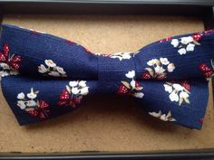 New vintage Cotton, double layer, blue Floral bow tie. Great Quality & Reviews | eBay