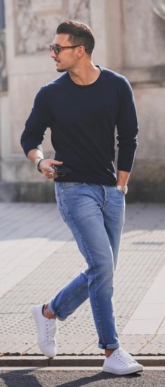 How To Pull Off Simple Casual Outfits is part of Sneakers men fashion - Many times men feel uncomfortable being dressed up so the off duty look has to be fresh, stylish & comfortable 25 casual outfit ideas for men to try now! Mens Fall Outfits, Summer Outfits Men, Stylish Mens Outfits, Summer Men, Mens Sweater Outfits, Men's Summer Clothes, Mens Jeans Outfit, Men Summer Style, Cool Outfits For Men