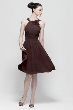 Classy chocolate brown bridesmaid dress.