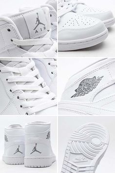 NIKE AIR JORDAN 1 MID [WHITE/COOL GREY-WHITE] 554724-120