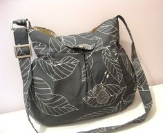 LOVE this whole shop!!!!  Gray Canvas Leaves PleatedAdjustable to Straps by marbled on Etsy, $35.00