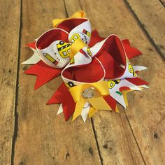 Back to school bow, school bus bus, hair accessory, pencils, First Day of School, hair bow, boutique bow, red and yellow by BBgiftsandmore on Etsy