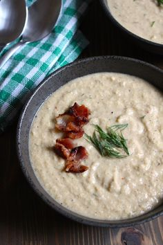 Creamy Celery Soup with Bacon (Paleo) Cauliflower Soup Recipes, Healthy Soup Recipes, Real Food Recipes, Paleo Soup, Celery Recipes, Pork Recipes, Watermelon Nutrition Facts, Whole 30 Breakfast, Breakfast Ideas