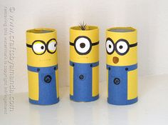 Cardboard Tube Minions - Crafts by Amanda make 10 and a sock ball makes kids indoor bowling game