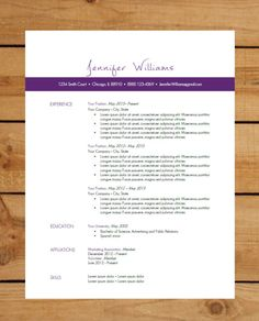 Resume Template | Instant Word Document Download | Modern Resume Design | Purple Bar on Etsy, $15.00