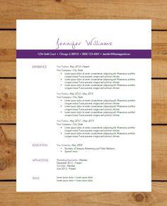 Resume Template | Instant Word Document Download | Modern Resume Design | Purple Bar on Etsy, $15.00