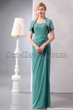 1st-dress.com Offers High Quality Modest 2 Pieces Sage Chiffon Long Mother of Groom Dress with Short Jacket,Priced At Only US$165.00 (Free Shipping)