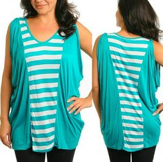 "COMING SOON! ""LIKE"" TO BE NOTIFIED WHEN AVAILABLE beautiful teal & white striped sleeveless top. Brand NWT retail and never worn. women's plus sizes. 100% rayon. measurements will be added soon. no trades. Tops"