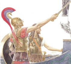The Young ACHILLES with PATROCLUS Leave Scyros To Embark For Troy. (Alan Lee/Trojan War/user: Aethon)