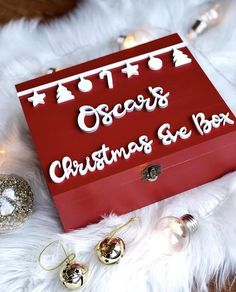 Personalised Christmas Eve Box – Hannah Joy Designs Personalised Christmas Eve Box, Christmas Gifts, Christmas Ideas, White Box, Gift Wrapping, Joy, Hand Painted, Gift Ideas, Holiday Gifts