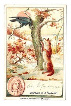Jean de La Fontaine - Fable corbeau renard - Chromo Aiguebelle - Trade card   Collections, Objets publicitaires, Chromos, découpis   eBay!