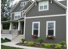 Exterior Paint Colors - You want a fresh new look for exterior of your home? Get inspired for your next exterior painting project with our color gallery. All About Best Home Exterior Paint Color Ideas Exterior Gray Paint, Exterior Paint Colors For House, Paint Colors For Home, Exterior Colors, Exterior Design, Grey Siding, Exterior Homes, Siding Colors, Vinyl Siding