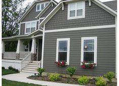 dark grey house with white trim - Google Search