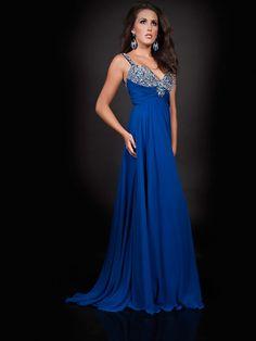 Chiffon mit Binde A-Linie Abendkleid mit Strass at dresstylish.com