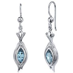 London Blue Topaz Fishhook Earrings Sterling Silver Rhodium Nickel Finish 100 Carats >>> For more information, visit image link.