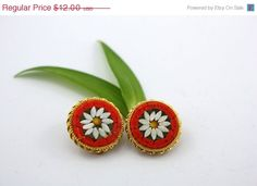 50 OFF  CLEARANCE SALE Micro Mosaic Earrings by TheOldJunkTrunk, $6.00