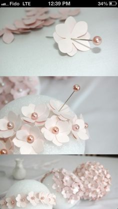 DIY centre pieces styrofoam ball flower
