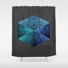 Hexagon blue sparkle diamond Dark Grey Shower Curtain by #PLdesign #BlueSparkles #SparklesGift