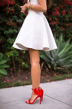 White summer dress & red heels One Dress A Day - Song of Style