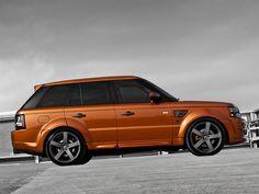 Burnt Orange Range Rover sport
