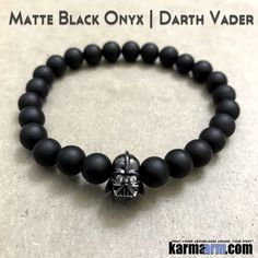Yoga Bracelets Darth Vader Star Wars I Law of Attraction | #LOA | Beaded & Charm Yoga Mala I Meditation & Mantra I Spiritual. Matte Black Onyx.