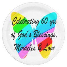 PRETTY 60TH BIRTHDAY RAINBOW BUTTERFLY DESIGN 9 INCH PAPER PLATE http://www.zazzle.com/jlpbirthday/gifts?cg=196545043849107961&rf=238246180177746410 #60yearsold #Happy60thbirthday #60thbirthdaygift #60thbirthdayidea #happy60th #Christian60th #60thprayer