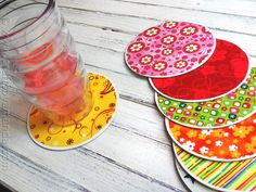 Here's a clever reuse for old CDs and DVDs—colorful fabric-covered coasters (Crafts by Amanda)