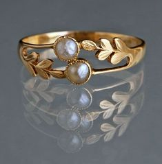 """EDWARDIAN Laureate Ring in Gold & Pearl """"A delicate ring symbolising honour & friendship.""""  British, c1905"""