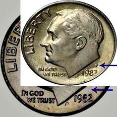 1982 no 'P' DIME. MINT ERROR . Missing mint mark.