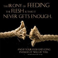 The irony of feeding the flesh is that it never gets enough. And if your flesh eats long enough, it will eat you. Daily Encouragement, Christian Encouragement, Daughters Of The King, Daughter Of God, Words Of Hope, Wise Words, Famous Quotes, Best Quotes, Faith Quotes