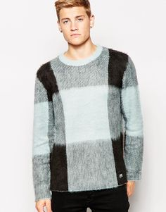 Image 1 of Cheap Monday Crew Knit Jumper Moe Large Mist Check
