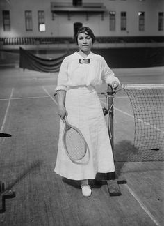 TENNIS: Molla Bjurstedt Mallory (1884-1959) who won the Women's National Indoor Tennis Tournament at the Seventh Regiment Armory (Park Avenue Armory), New York City in March of 1915.