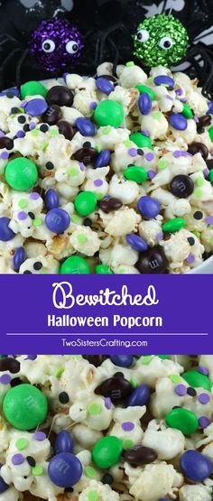 Bewitched Halloween Popcorn - sweet and salty popcorn covered in marshmallow and mixed with crunchy chocolate candy in Halloween colors. A yummy Halloween Dessert that is super easy to make! Pin this delicious Halloween treat for later and follow us for more great Halloween Food Ideas