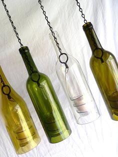 Glass Wine Bottle Candle Holder Hanging Hurricane Lantern Set of 4 Wine Bottle Candle Holder, Wine Bottle Art, Votive Holder, Wine Bottle Crafts, Hurricane Lanterns, Lantern Set, Wine Decor, Bottles And Jars, Glass Bottles