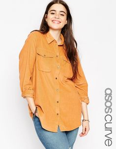 ASOS+CURVE+Shirt+in+All+Over+Cord