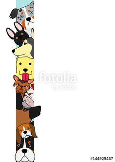 ベクター: dogs sticking out their heads from narrow space点