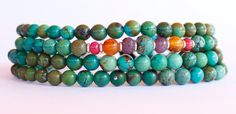 Asymmetrical Turquoise Bracelet Precious Gemstones With Ruby Amber Lazuli Coral #SomGallery #Beaded
