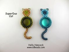 Tutorial Superduo CAT Pendant. Pattern to by ButterflyBeadKits