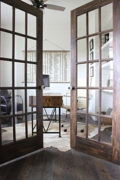 Office door design ideas kitchens 22 Ideas for 2019 Antique French Doors, French Doors Patio, Patio Doors, French Patio, Dark Doors, Small Office Design, Wood Front Doors, Entry Doors, Wooden Doors
