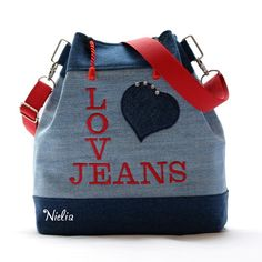 S džínovým vyznáním II / Zboží prodejce Nielia Mochila Jeans, Denim Art, Craft Bags, Handmade Bags, Pouch, Handbags, Purses, Leather, Chickadees