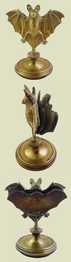 Late Victorian figural bat calling card / letter holder, brass, 5.5 in. high