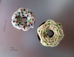 A set of two (2) Crochet Donuts Brooch. Idea for Gift, Party Favor, Christening Bomboniere. Cute Denim Jacket Accessory by Vintagespecialmoment on Etsy
