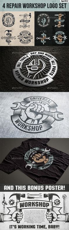 Repair Workshop Logo Set — PSD Template