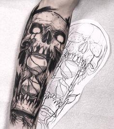 Black art tattoo ideas harry potter Ideas for 2019 Skull Sleeve Tattoos, Body Art Tattoos, Hand Tattoos, Forearm Tattoos For Men, Tattoo Art, Black Art Tattoo, Black Tattoos, Dark Tattoos For Men, Back Tattoos For Guys