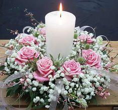 Candle Arrangements, Church Flower Arrangements, Candle Wedding Centerpieces, Floral Centerpieces, Floral Arrangements, Flower Table Decorations, Table Flowers, Decoration Table, Christmas Floral Designs