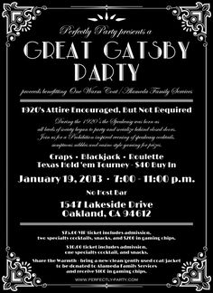 Great Gatsby Party Invitation Template Great gatsby party ...
