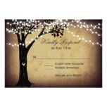 String of Lights Rustic Oak Tree #wedding RSVP Card