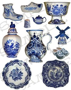 Blue and White Delft China Collage Sheet via Etsy.