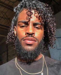 Fine Black Men, Gorgeous Black Men, Just Beautiful Men, Black Boys, Long Curly Hair, Curly Hair Styles, Natural Hair Styles, Dark Skin Men, Afro Men